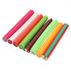 DancingNail 50pcs Nail Art 3D Flower Fruit Polymer Clay Canes Rod Nail Decorations Stick Sticker Fruit Shape